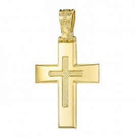 Cross K14 gold polished and design in the middle 2732