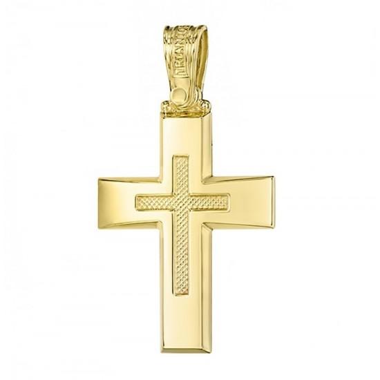 Σταυρός Κ14 χρυσός λουστραριστός και σχέδιο στην μέση 2732