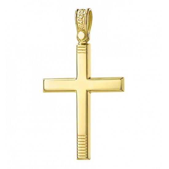 Σταυρός Κ14 χρυσός λουστραριστός για βάπτιση 21232