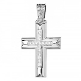 Cross K14 platinum and white zircon for christening or engagement 2732W