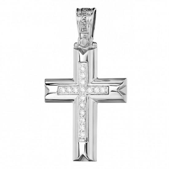Cross K14 platinum and white zircon for christening or engagement 2732W