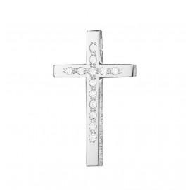 Σταυρός Κ14 λευκόχρυσος λουστραριστός και λευκά ζιργκόν 25237