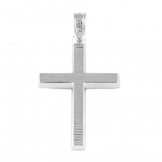 Σταυρός Κ14 λευκόχρυσος λουστραριστός και τραχισμένος για βάπτιση 18332
