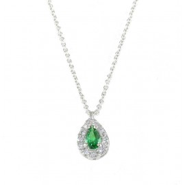 Platinum necklace K14 rosette with white zircon and stone in emerald color 19016