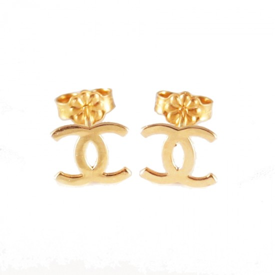 Rose gold K14 earrings with chanel design polished 085722