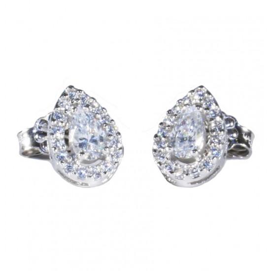 Platinum earrings K14 rosettes in drop design with white zircon 14813