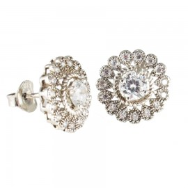 Vintage silver earrings with design daisies with white zircon 32018