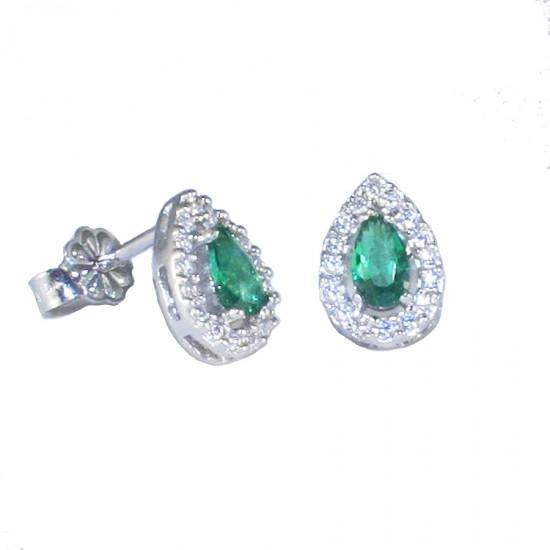 Platinum earrings K14 rosettes in drop design 13712