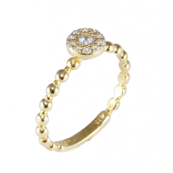 Gold K9 solitaire ring with round head and white zircon 1420