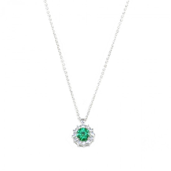 Platinum necklace K14 rosette round with white zircon and stone in emerald color 19516
