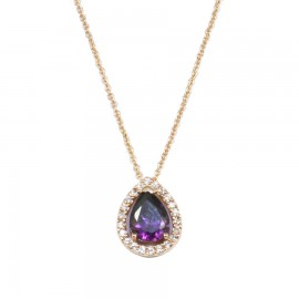 Rose gold necklace K14 rosette with white zircon and stone in the color of amethyst 25622