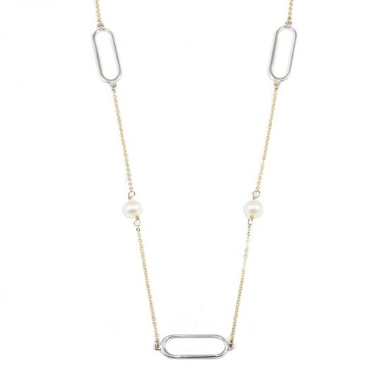 Κολιέ Κ9 δίχρωμο χρυσό και λευκόχρυσο με μαργαριτάρια 595655
