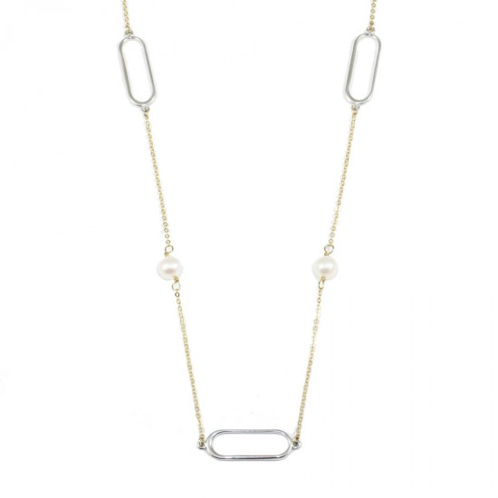 Necklace K9 two-color gold and platinum with pearls 595655