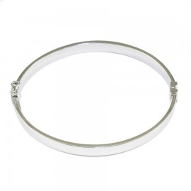 Bracelet silver bar flat in the shape of oval polished 69321