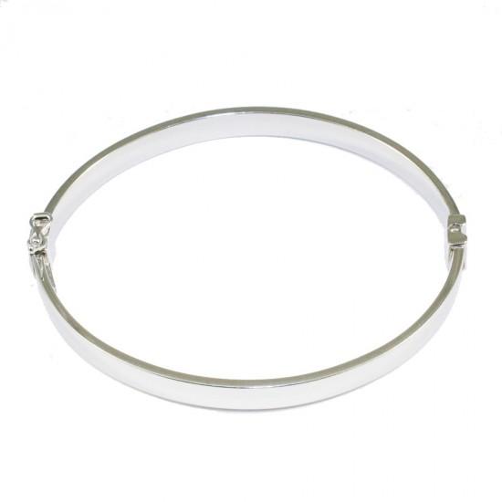 Bracelet silver bar flat in the shape of oval polished 69321