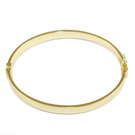 Bracelet silver bar flat in the shape of oval polished and gold plated69521