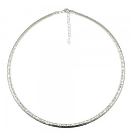 Silver handcrafted polished necklace two-sided Necklace length 16350