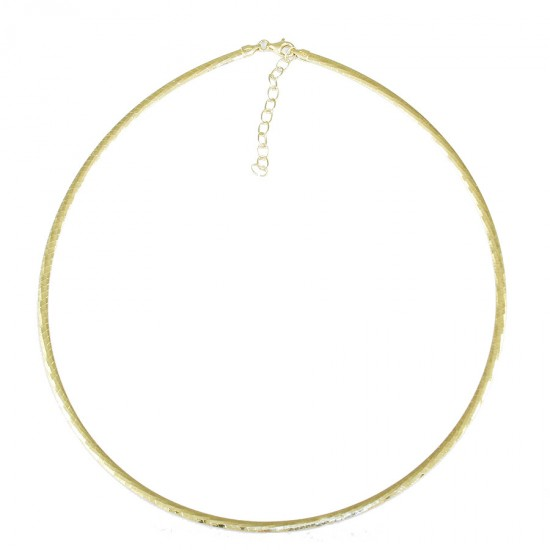 Silver handcrafted polished necklace two-sided and gold plated  84025