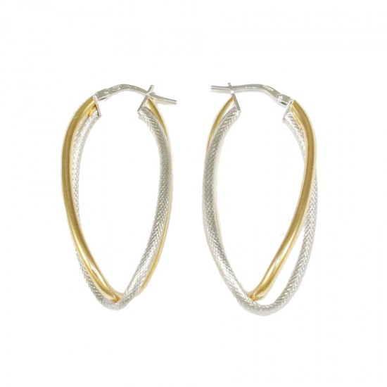 Earrings silver rings two-color platinum gold plated and handcrafted 58624