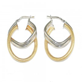 Earrings silver rings two-color platinum gold plated and handcrafted 62725