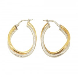 Earrings silver rings two-color platinum gold plated and handcrafted 5020
