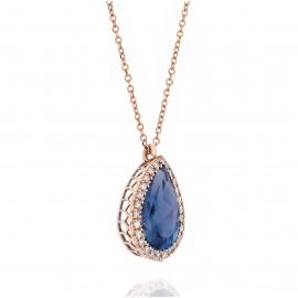 Κολιέ ροζ χρυσό Κ18 ροζέτα με λευκά διαμάντια και London Blue Topaz 8117