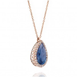 Rose gold necklace K18 rosette with white diamonds and London Blue Topaz 8117