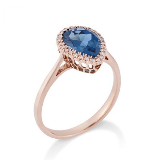 Δαχτυλίδι ροζ χρυσό Κ18 με London blue topaz σε σχήμα σταγόνας 44110