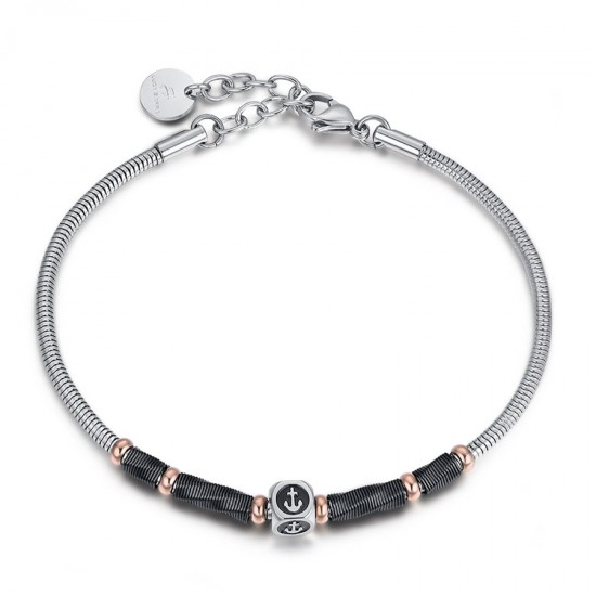 Stainless steel handcuff for men with anchor design BA1145