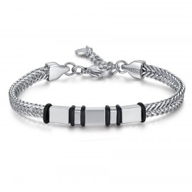 Stainless steel handcuff for men with black elements BA1158