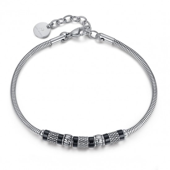 Stainless steel handcuff for men with antique elements  BA1149