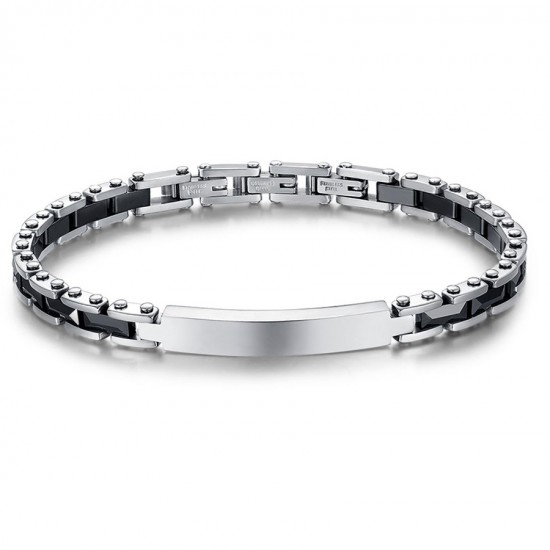 Stainless steel handcuff for men with black ceramic elements BA1128