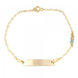 Children's bracelet gold K9 with the word boy with enamel for christening 13010