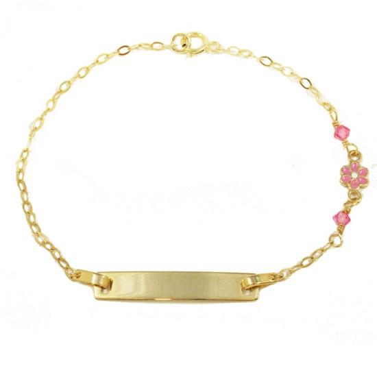 Children's bracelet gold K9 with enamel flower design with quartz for christening 1451090
