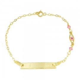 Children's bracelet gold K9 with eye design with enamel and quartz 1351012
