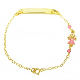 Children's bracelet gold K9 with little girl with enamel and quartz 1501125