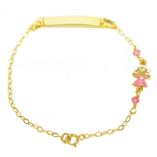Children's bracelet gold K9 with little girl with enamel and quartz 1501125