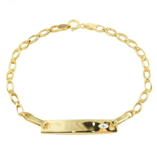 Children's bracelet gold K9 with enamel eye design for christening 2015G