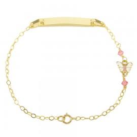 Παιδική ταυτότητα χρυσή Κ9 με πεταλούδα με σμάλτο και ροζ quartz 14011
