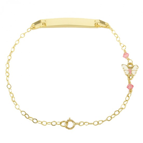Children's bracelet gold K9 with butterfly with enamel and pink quartz 14011