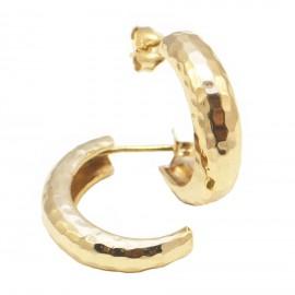 Σκουλαρίκια χρυσά Κ14 σφυρίλατα