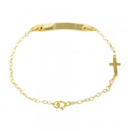 Παιδική ταυτότητα χρυσή Κ9 με Σταυρό και ροζ quartz 14211