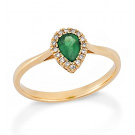 Gold K18 ring with drop-shaped emerald and white diamonds 5629