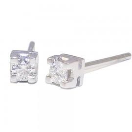 Σκουλαρίκια λευκόχρυσα Κ18 μονόπετρα συνολικού βάρους 1.30gr με διαμάντια κοπής μπριγιάν carat weight 0.21ct χρώματος G καθαρότη