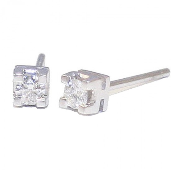 White gold earrings solitaire K18 with 2 diamonds total weight 1,30gr carat weight 0.21ct color G clarity grade VS1 cut grade ex