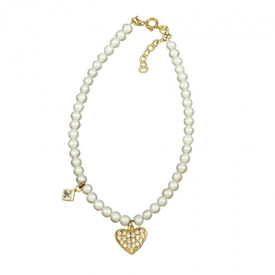 Bracelet silver gold-plated with heart pattern with white zircon and pearls