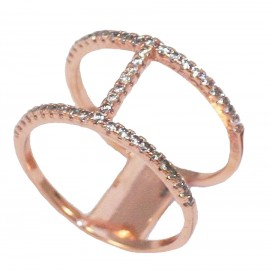 Sterling silver ring gold plated with rose gold and white zircon