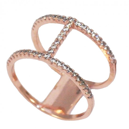 Δαχτυλίδι ασημένιο επιχρυσωμένο με ροζ χρυσό και λευκά ζιργκόν Νο. 58