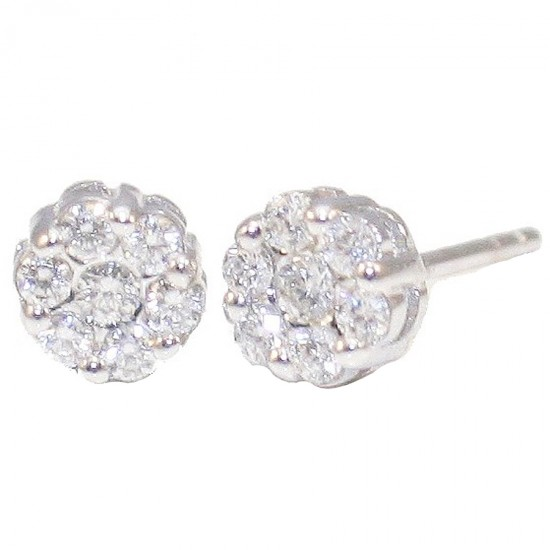 White-gold earrings Κ18 with 14 diamonds total weight carat weight 0,06ct / 0,26ct color F clarity grade VVS 1 cut grade excelle