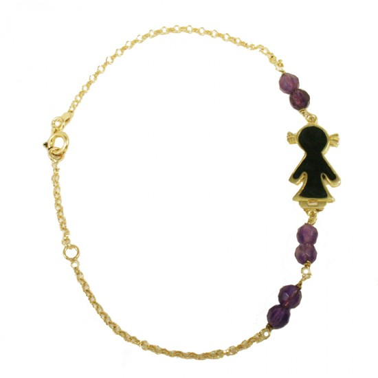 Silver gold-plated bracelet with baby girl design with enamel and synthetic stones in amethyst color